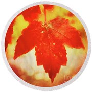 Flaming Autumn Round Beach Towel
