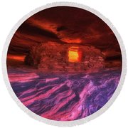 Round Beach Towel featuring the photograph Flaming Aztec House by Darren White