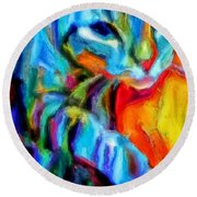 Flaming Blue And Orange Kitty Cat Tiger Resting Gently From The Prowl Round Beach Towel by MendyZ