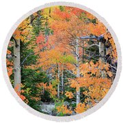 Flaming Forest Round Beach Towel