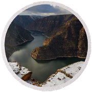 Round Beach Towel featuring the photograph Flaming Gorge by Dustin LeFevre