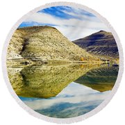 Flaming Gorge Water Reflections Round Beach Towel