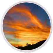 Flaming Hand Sunset Round Beach Towel
