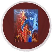 Flaming Lovers Round Beach Towel