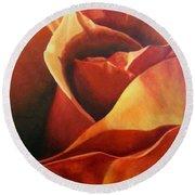 Flaming Rose Round Beach Towel