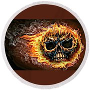 flaming skull Punk Gothic Biker Art Round Beach Towel