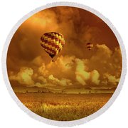 Flaming Sky Round Beach Towel by Charuhas Images
