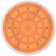 Round Beach Towel featuring the digital art Flaming Sun by Elizabeth Lock