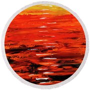 Round Beach Towel featuring the painting Flaming Sunset Abstract 205173 by Mas Art Studio