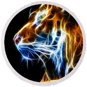 Flaming Tiger Round Beach Towel by Shane Bechler
