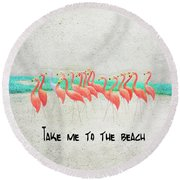 Flamingo Art II Round Beach Towel