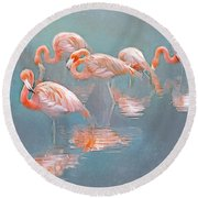 Flamingo Blues Round Beach Towel