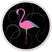 Flamingo Bubbles No 1 Round Beach Towel