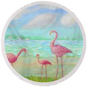 Flamingo Dreaming Round Beach Towel