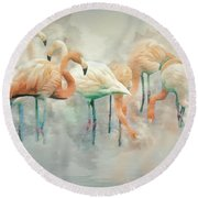 Flamingo Fantasy Round Beach Towel by Brian Tarr