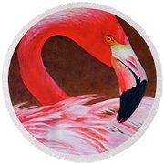 Flamingo Fluff Round Beach Towel