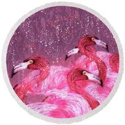Flamingo Frenzy Round Beach Towel