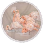 Flamingo Fun Round Beach Towel