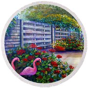 Flamingo Gardens Round Beach Towel by Lou Ann Bagnall
