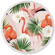 Flamingo Guava Round Beach Towel