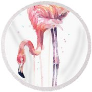 Flamingo Illustration Watercolor - Facing Left Round Beach Towel