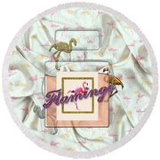 Flamingo Round Beach Towel by La Reve Design