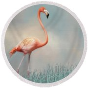 Flamingo Round Beach Towel by Lena Auxier