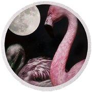 Flamingo Moon  Round Beach Towel