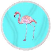 Flamingo On Blue Round Beach Towel