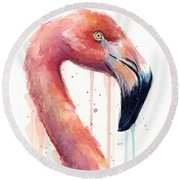 Flamingo Painting Watercolor - Facing Right Round Beach Towel