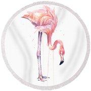 Flamingo Painting Watercolor Round Beach Towel by Olga Shvartsur