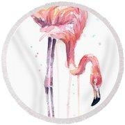 Flamingo Painting Watercolor Round Beach Towel