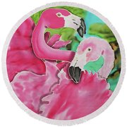 Flamingo Passion Round Beach Towel