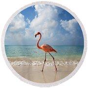 Flamingo Walking Along Beach Round Beach Towel