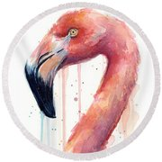 Flamingo Watercolor Illustration Round Beach Towel
