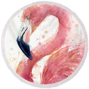 Flamingo Watercolor Painting Round Beach Towel
