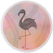 Round Beach Towel featuring the digital art Flamingo1 by Megan Dirsa-DuBois