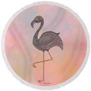 Flamingo1 Round Beach Towel by Megan Dirsa-DuBois