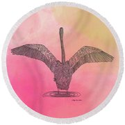 Round Beach Towel featuring the digital art Flamingo2 by Megan Dirsa-DuBois