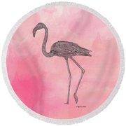 Flamingo3 Round Beach Towel by Megan Dirsa-DuBois