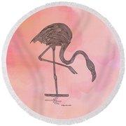 Flamingo4 Round Beach Towel by Megan Dirsa-DuBois