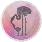 Round Beach Towel featuring the digital art Flamingo6 by Megan Dirsa-DuBois