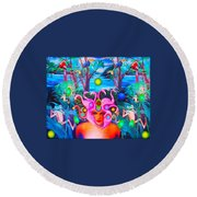 Flamingodeusa In The Neon Jungle Round Beach Towel