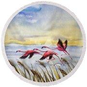 Flamingoes Flight Round Beach Towel