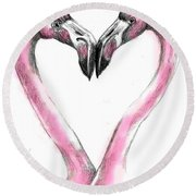 Flamingoes In Love2 Round Beach Towel