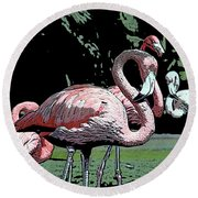 Round Beach Towel featuring the photograph Flamingos I by Jim and Emily Bush