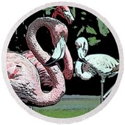 Round Beach Towel featuring the photograph Flamingos II by Jim and Emily Bush