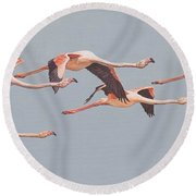 Flamingos In Flight Round Beach Towel
