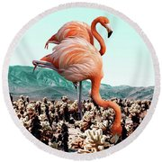 Flamingos In The Desert Round Beach Towel