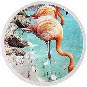 Flamingos On The Beach Round Beach Towel
